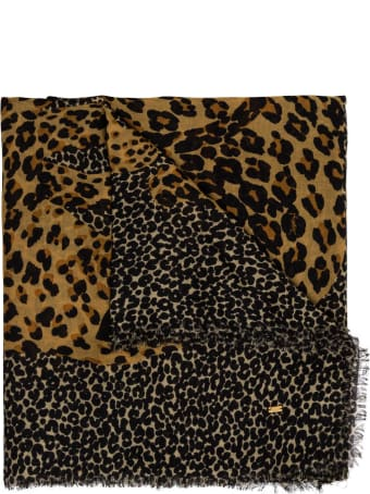 Saint Laurent Animalier Wool Shawl