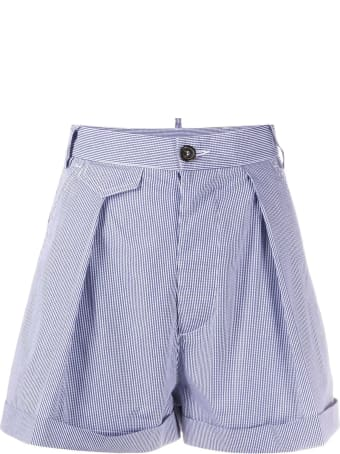 Dsquared2 Blue And White Cotton Shorts