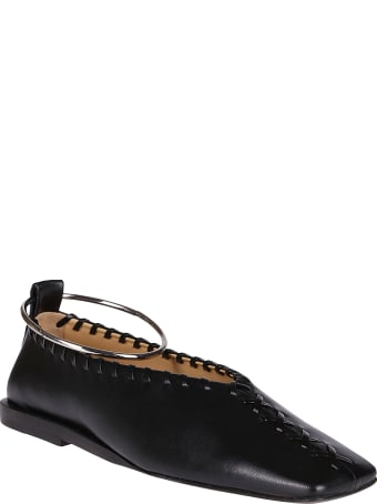 Jil Sander Black Leather Ballerina Shoes