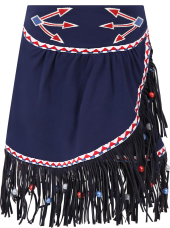 Stella Jean Blue Skirt For Girl With Fringes
