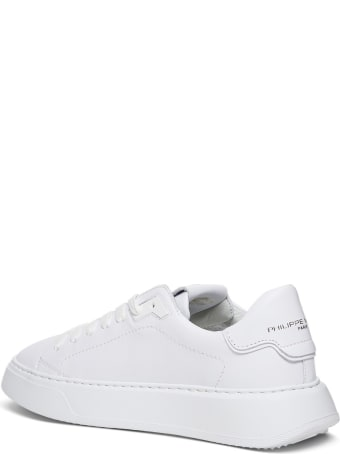 Philippe Model Temple Low Sneakers In White Leather