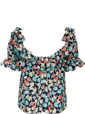 Saint Laurent Floral Silk Shirt With Ruffles Detail