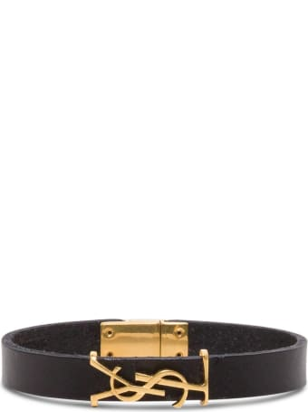 Saint Laurent Leather Bracelet With Logoed Buckle