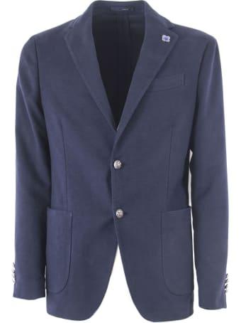 Lardini Blue Cotton Blend Single Breasted Blazer