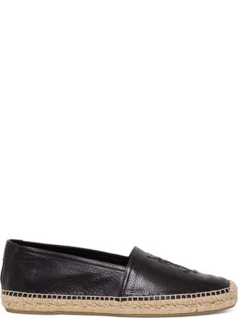 Saint Laurent Espadrilles In Black Leather With Logo