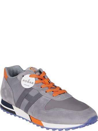 Hogan Grey And Orange Suede H383 Sneakers