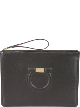 Salvatore Ferragamo Textured Logo Clutch