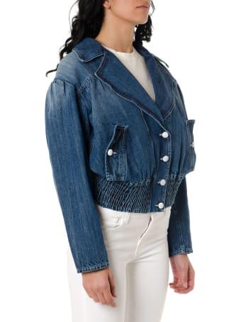 Frankie Morello Wide Lapel Denim Jacket
