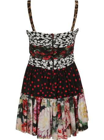 Dolce & Gabbana Polka Dot & Rose Printed Short Dress