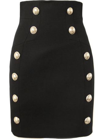 Balmain Black Wool Skirt