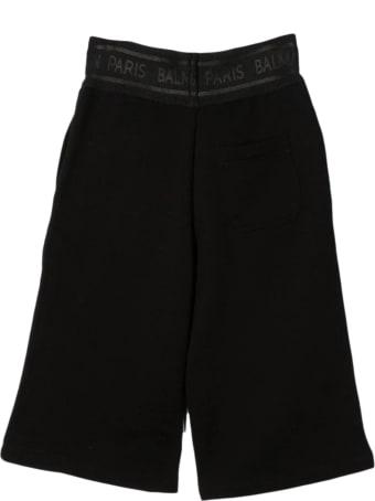 Balmain Black Cotton Shorts Track