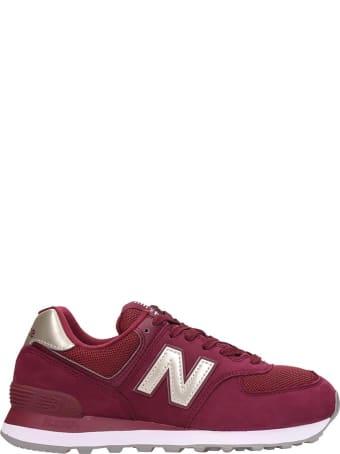 New Balance 574 Sneakers In Bordeaux Nubuck