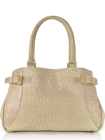 Fontanelli Beige Gray Ostrich & Croco Embossed Leather Satchel Bag