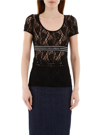 Dolce & Gabbana Lace T-shirt With Logo