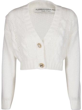 Alessandra Rich White Mohair-virgin Wool Blend Cardigan