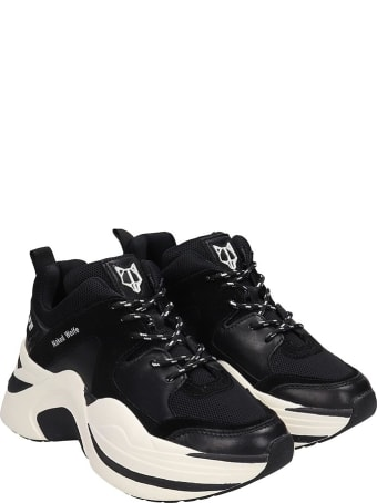 Naked Wolfe Track Sneakers In Black Suede And Leather