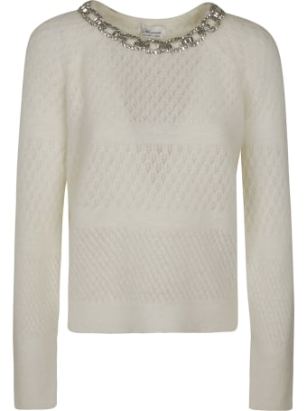 Blumarine Crystal Neckline Woven Sweater