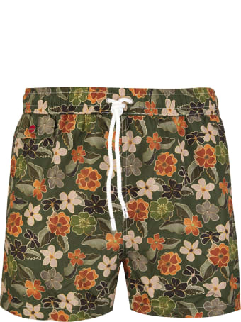Kiton Military Green Swimsuit With Floral Fantasy