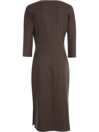 Antonelli Pencil Longuette Dress 3/4s W/slit On Neck