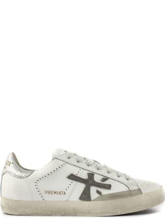 Premiata Steven Sneakers In White Leather