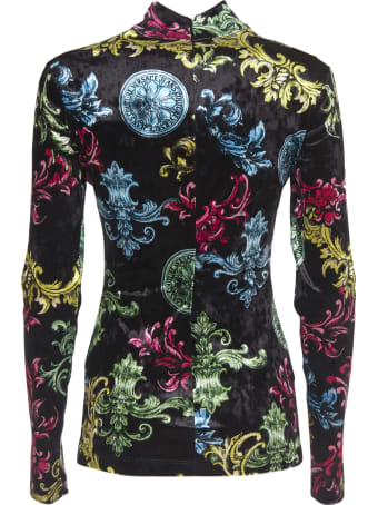 Versace Jeans Couture Long Sleeve T-shirt With Baroque Multicolor Pattern