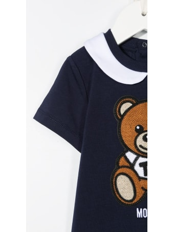 Moschino Blue Jersey Onesie With Teddy Bear Patch