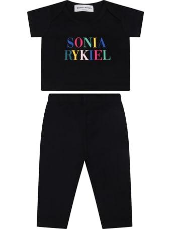 Sonia Rykiel Black Set For Babygirl With Logo