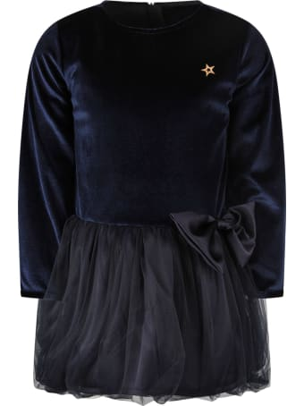 Be Stella Blue Dress For Girl With Metallic Star And Bow