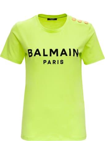 Balmain Ss 3 Btn Flocked Logo T-shirt