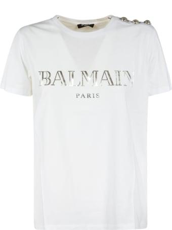 Balmain Logo Shoulder Embellished T-shirt