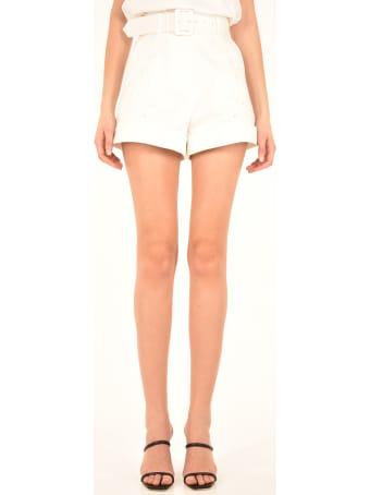 self-portrait White Cotton Shorts