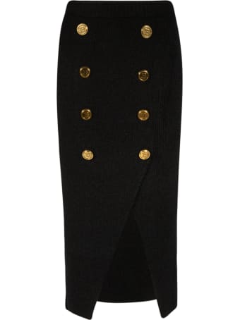 Balmain Double-breasted Back Zip Skirt