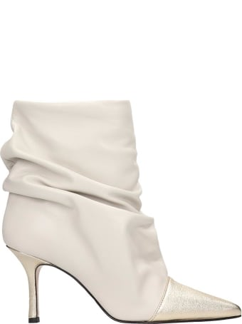 Marc Ellis High Heels Ankle Boots In White Leather