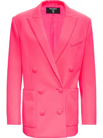 Balmain Fluo Pink Double-breasted Blazer