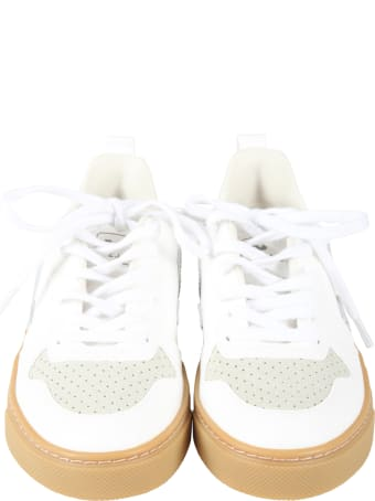 Veja White Sneakers For Kids With Green Logo