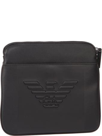 Emporio Armani Black Embossed Logo Shoulder Bag