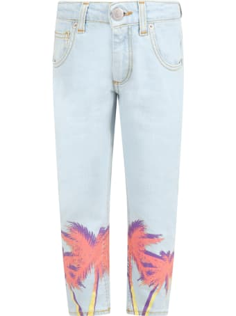 Family First Milano Light Blue Jeans For Kids With Palm Trees