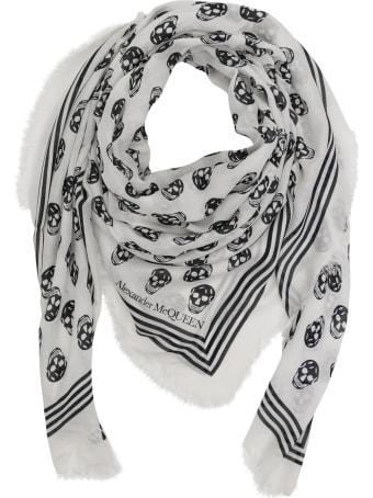 Alexander McQueen Scarf Modal Silk With Skull Ivory Black. 100% Modal