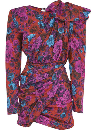 Magda Butrym Floral Print Short Draped Dress