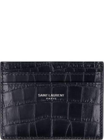 Saint Laurent Croco-print Leather Card Holder