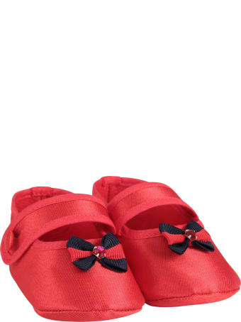 LòLò Red Babygirl Flat Shoes With Bow
