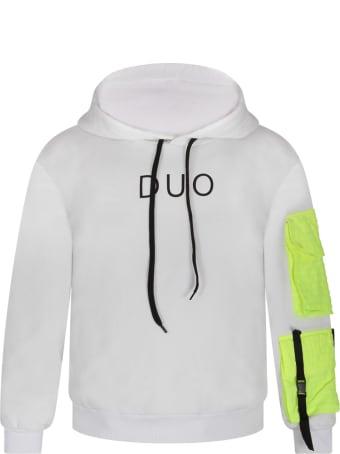 Natasha Zinko White Sweatshirt For Boy With Black Logo