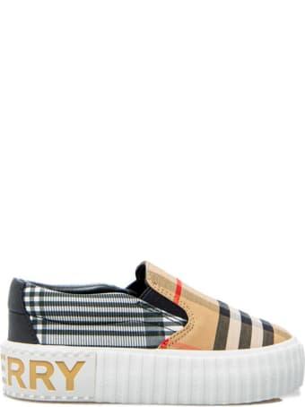 Burberry Beige Vintage Check Pattern Sneakers