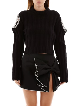 AREA Cropped Pullover With Crystals