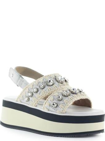 Mou Big Crystals White Platform Sandal