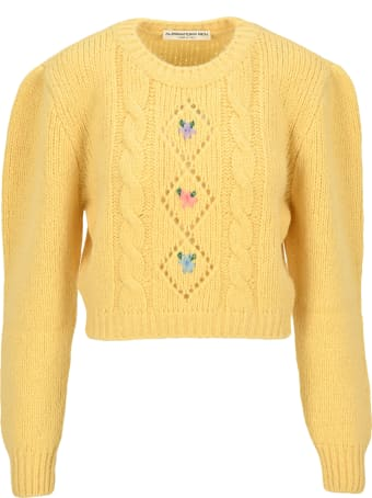 Alessandra Rich Cropped Jumper With Floral Details
