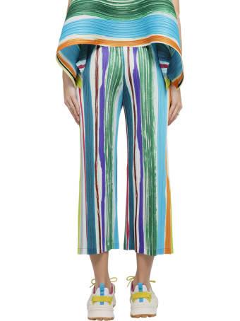 Pleats Please Issey Miyake Pleats Please Multicoloured Leaf Vein Trousers