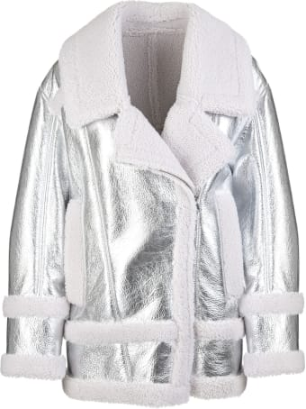 Blancha Curly Wool And Silver Laminated Leather Woman Jacket