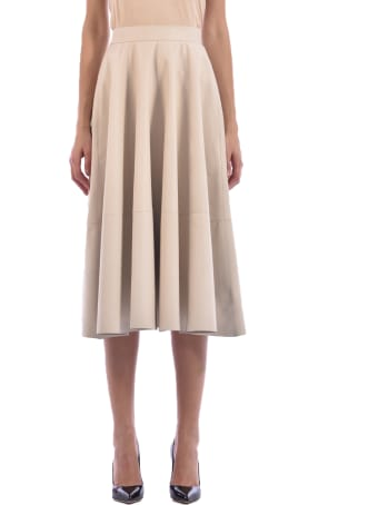 Germans Leather Skirt Cream