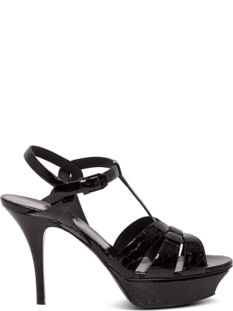 Saint Laurent Tribute Sandals In Crocodile Print Leather